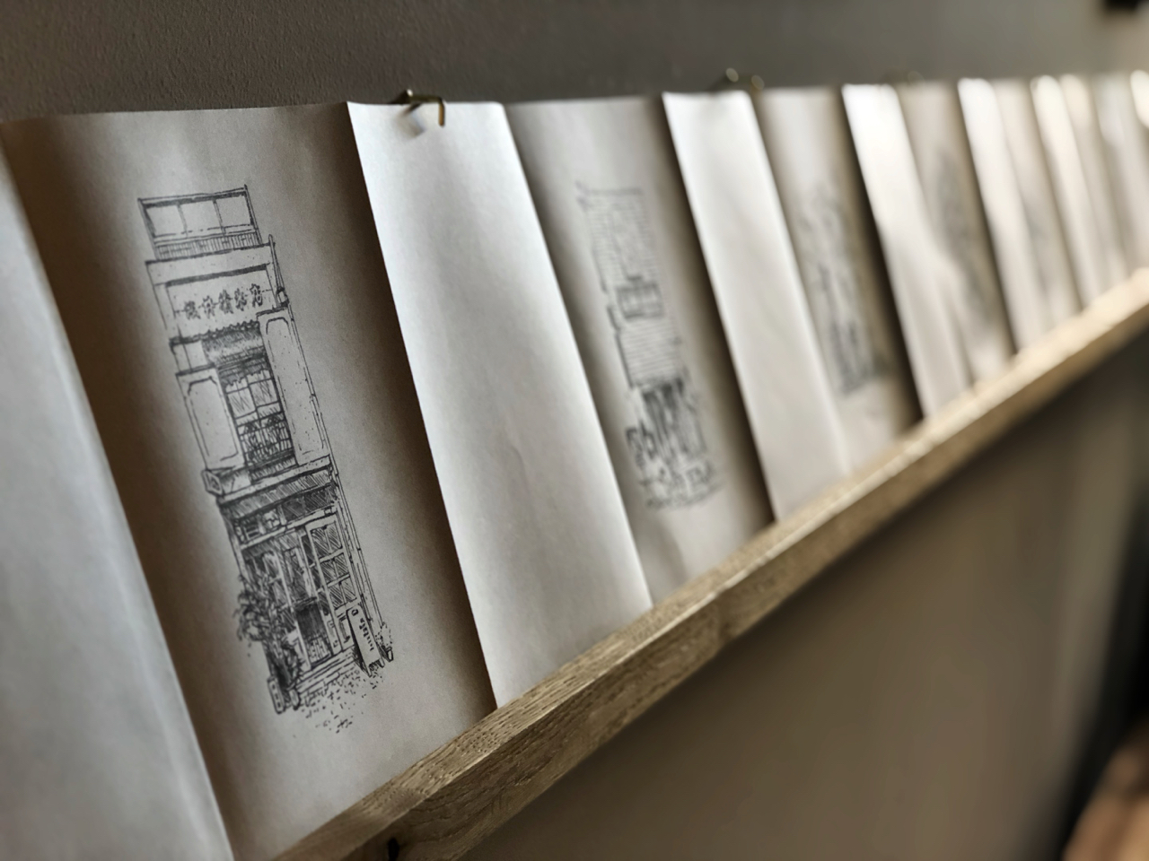 line drawings on folded book